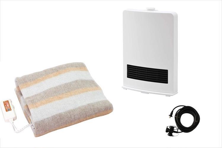 電気毛布、ファンヒーター、延長コード